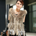 Luxury Women Natural Rabbit Fur Vest With Hooded Large Raccoon Fur Collar Tassels Gilet - Brown