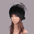 Luxury Women Winter Knitted Beanies Genuine Mink Fur Hat With Silver Fox Fur Pom Poms Top - Black