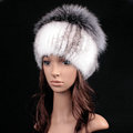 Luxury Women Winter Knitted Beanies Genuine Mink Fur Hat With Silver Fox Fur Pom Poms Top - White Grey
