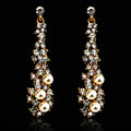 New Arrival Unique Pearl Crystal 14k Gold Plated Long Drop Earrings for Women Banquet Fashion Jewelry