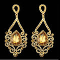New Champagne Noble Austrian Crystal Dangle Drop Earrings for Women 14K Gold Plated Fashion Jewelry