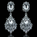 New Classic Design Teardrop Crystal White Gold Plated Dangle Earrings Wedding Jewelry Earrings for Women