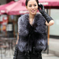 New Delicate Genuine Knitted Natural Silver Fox Fur Vest Women Fashion Fox Fur Waistcoat