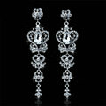 New Design Butterfly Elegant Austrian Crystal Bridal Earrings White K Plated Party Long Drop Earrings