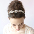 New European Bridal Gold Crystal Beads Flower Wedding Hairbands Women Hair hoop Accessories