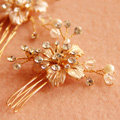 New European Bridal Gold Crystal Beads Flower Wedding Headband Women Hair pin Accessories