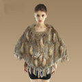 New Fashion Women Genuine Knitted Rabbit Fur Shawl With Raccoon Fur Tassels Pullover - Brown