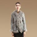 New Fashion Women Kint Rabbit Fur Coats Genuine Raccoon Fur Warm Outerwear - Natural Grey