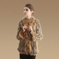 New Fashion Women Kint Rabbit Fur Coats Genuine Raccoon Fur Warm Outerwear - Natural Yellow