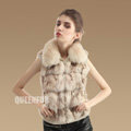 New Genuine Knitted Fox Fur Waistcoat Fashion Elegant Women Winter Warm Fur Vests - Beige