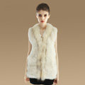 New Genuine Knitted Rabbit Fur Vest With Raccoon Fur Collar Women Long Fur Gilet - Beige