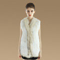 New Genuine Knitted Rabbit Fur Vest With Raccoon Fur Collar Women Long Fur Gilet - White