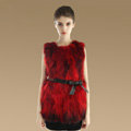 New Genuine Real Raccoon Fur Vest Fashion Women Medium-long With Belt Fur Waistcoat - Red