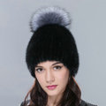 New Genuine Whole Mink Fur Hats With Silver Fox Fur Ball Women Winter Knitted Beanies Cap - Black