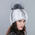 New Genuine Whole Mink Fur Hats With Silver Fox Fur Ball Women Winter Knitted Beanies Cap - White