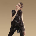 New Luxury Genuine Natural Silver Fox Fur Vest Women Fashion Long Fox Fur Waistcoat - Coffee