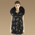 New Luxury Nature Silver Fox Fur Vest Women Fashion Long Large Fox Fur Collar Gilet