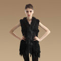 New Natural Knit Rabbit Fur Vests Winter Fashion Women's Real Raccoon Fur Waistcoat - Black