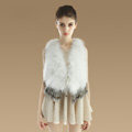 New Nature Turkey Fur Vest With Ostrich Fur Waistcoat Fashion Women Winter Fur Gilet - White