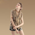 New Real Rabbit Fur Vest Fashion Raccoon Fur Collar Women Knitted Rabbit Fur Gilet - Natural Yellow