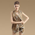 New Real Rabbit Fur Vests Fashion Women Knitted Rabbit Fur Winter Warm Waistcoats - Natural Yellow
