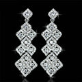 New Silver Long Bridal Earrings Elegant Geometry Austrian Crystal Earrings for Women Wedding Jewelry