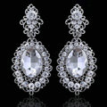 New Vintage Big Stone Crystal Flower Silver Plated Bridal Wedding Drop Earrings For Women