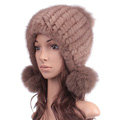 New Winter Real Mink Fur Hat With Fox Fur Balls Women Knitted Beanies Dome Caps - Light Coffee