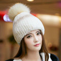 New Winter Real Rabbit Fur Hat With Raccoon Fur Ball Women Fashion Knitted Beanies Hat - Beige