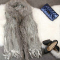 New Women Natural Rabbit Fur Vest With Hooded Large Raccoon Fur Collar Tassels Gilet - Grey