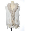 New Women Natural Rabbit Fur Vest With Hooded Large Raccoon Fur Collar Tassels Gilet - White