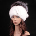 New Women Winter Knitted Beanies Genuine Mink Fur Hat With Silver Fox Fur Pom Poms Top - White