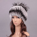 New Women Winter Knitted Beanies Genuine Rex Rabbit Fur Hat With Fox Fur Flower Top Hat - Grey