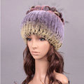 New Women Winter Knitted Beanies Genuine Rex Rabbit Fur Hat With Fox Fur Flower Top Hat - Purple