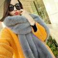 New arrival Luxury Fashion Fox Fur Scarf Fur Muffler Shawls Women Large Faux Fox Fur Bib Collar - Gray