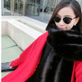 New arrival Luxury Noble Fox Fur Scarf Fur Muffler Shawls Women Large Faux Fox Fur Bib Collar - Black