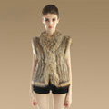 Newest Genuine Knitted Rabbit Fur Waistcoat With Raccoon Fur Collar Women Fur Vest - Brown