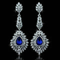 Noble Design Top Quality Teardrop Blue Crystal White Gold Plated Long Drop Earrings jewelry for Women
