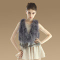 Noble Nature Turkey Fur Vest With Ostrich Fur Waistcoat Fashion Women Fur Tassels Gilet - Grey