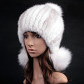 Noble Winter Genuine Cross Mink Fur Caps With Fox Fur Pom Poms Women Knitted Bomber Hat - White