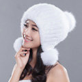 Noble Winter Genuine Mink Fur Caps With Fox Fur Pom Poms Women Knitted Bomber Hat - White