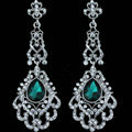 Original Design Chandelier Austrian Green Crystal Bridal Earrings White K Plated Long Earrings for Women