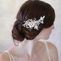 Retro Baroque Gold Plated Crystal Beads Flower Wedding Bridal Hair Barrettes Clip Accessories