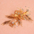 Retro Baroque Handmade Golden Leaf Crystal Beads Wedding Bridal Hair Barrettes Clip Accessories