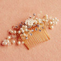 Retro Bridal Gold Plated Crystal Beads Pearl Flower Wedding Headpiece Hair Combs Accessories