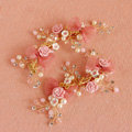 Retro Frosted Gold Plated Crystal Pearl Pink Flower Wedding Bridal Hair Barrettes Clip Accessories