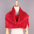 Romantic Winter Women Knitted Genuine Mink Fur Shawl Scarf Thick Fur Collars Wraps - Red