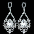 Silver Classic Water Drop Elegant Austrian Crystal Bridal Drop Earrings Wedding Jewelry Big Earrings for Women