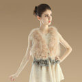 Sweety Nature Turkey Fur Vest With Ostrich Fur Waistcoat Fashion Women Fur Tassels Gilet - Beige