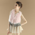 Sweety Nature Turkey Fur Vest With Ostrich Fur Waistcoat Fashion Women Fur Tassels Gilet - Pink